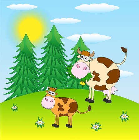 cows grazing: spotted cows grazing in a meadow ,vector illustration