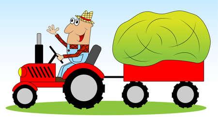 remolque: el hombre es un agricultor en un heno tractor impulsado por los animales, ilustración vectorial