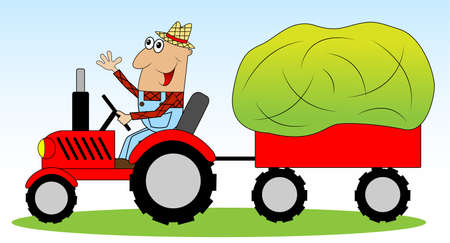 trailers: the man is a farmer on a tractor driven hay for animals,vector illustration