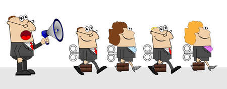 commanding: the chief yells in speaker and business people with briefcases and keys ,vector illustration