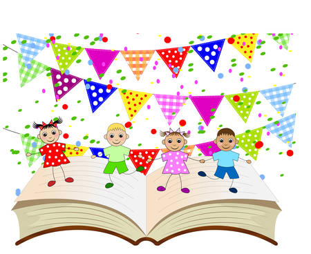 gaze: funny babies dancing on the pages of the book,vector illustration