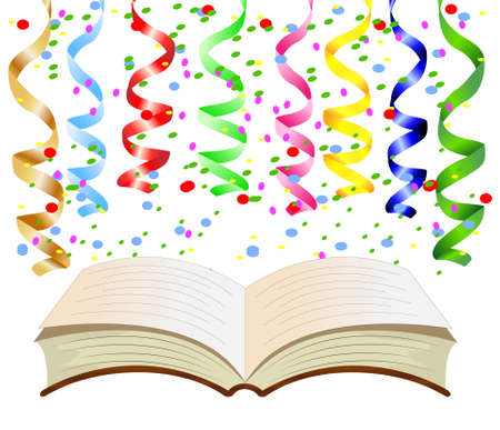 streamers: brightly colored streamers and open book, vector illustration