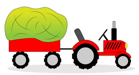 dry grass: tractor and hay wagon ,vector illustration