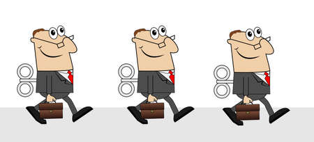 three points: business men with briefcases and keys ,vector illustration