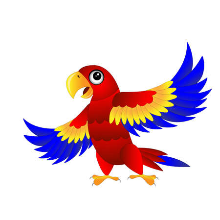 cartoon parrot: bright parrot on white background,vector illustration Illustration