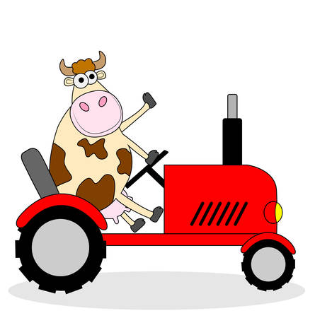 udder: cow riding on a tractor ,vector illustration