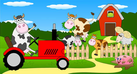 cows red barn: cow riding on a tractor ,vector illustration