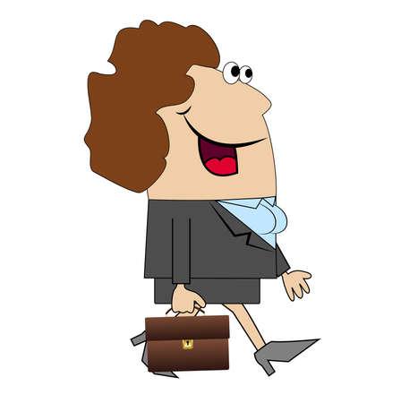 zapatos caricatura: La mujer con el maletín se va a trabajar. Ilustración del vector.