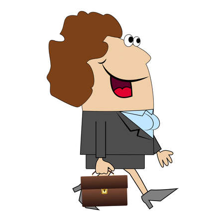 gait: The woman with the briefcase goes to work. Vector illustration. Illustration
