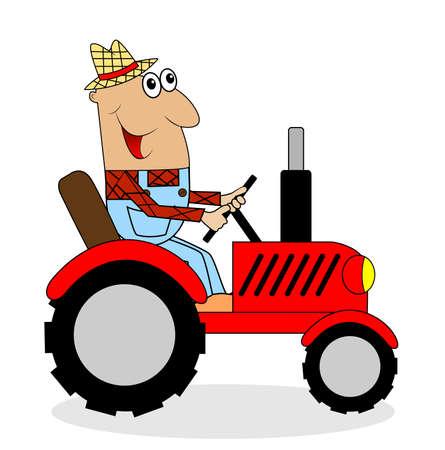 rides: male farmer rides a tractor,vector illustration