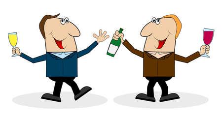 companion: two cheerful companion ,vector illustration