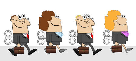 subordinates: business people with briefcases and keys ,vector illustration