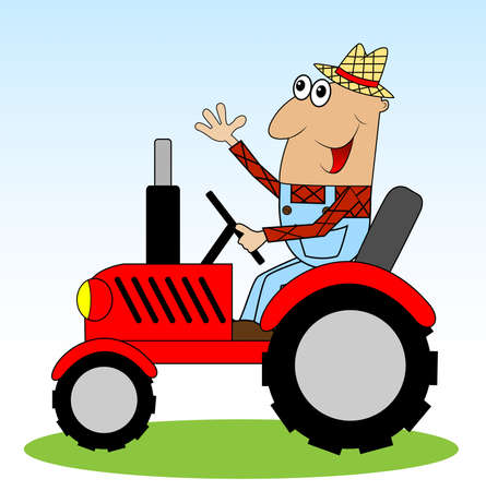 rides: male farmer rides a tractor,vector illustration