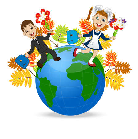 schoolmate: fun children run to school in globe,vector illustration