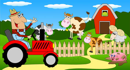 diligence: the man is a farmer on a tractor and cows on the meadow,vector illustration