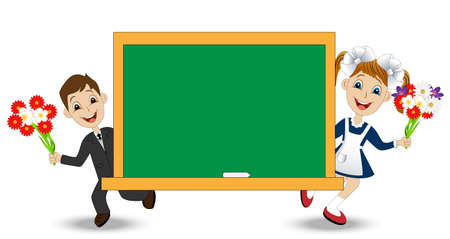 schoolmate: funny babies with flowers and school Board,vector illustration Illustration