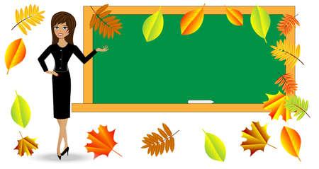 smart woman: the teacher near chalkboard, vector illustration