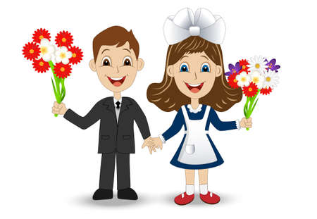 schoolmate: merry girl and boy with bouquets of flowers ,vector illustration