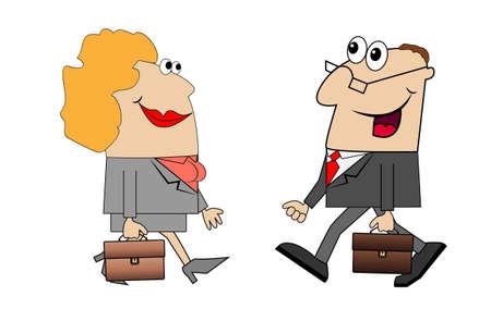 zapatos caricatura: Los hombres y las mujeres van a trabajar. Ilustración del vector.