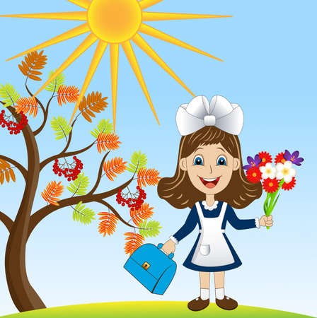 rowan tree: cheerful girl with a bouquet of flowers around the Rowan tree,vector illustration Illustration