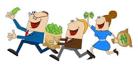 funny people fleeing with the money,vector illustration
