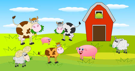 cows red barn: animals graze on the green lawn near the farm ,vector illustration Illustration