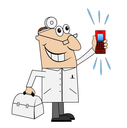 haste: Male doctor in a hurry to call. Vector illustration.