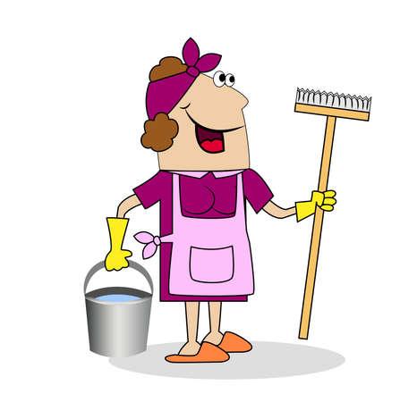 zapatos caricatura: Mujer mujer con una fregona y el cubo de la limpieza. Ilustración del vector. Vectores