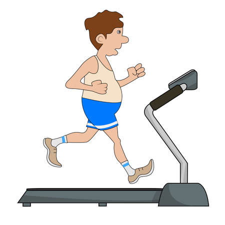 szigetelés: The man is engaged on a treadmill. Vector illustration.