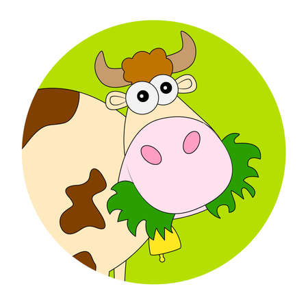 spotted: spotted cow with a bell ,vector illustration