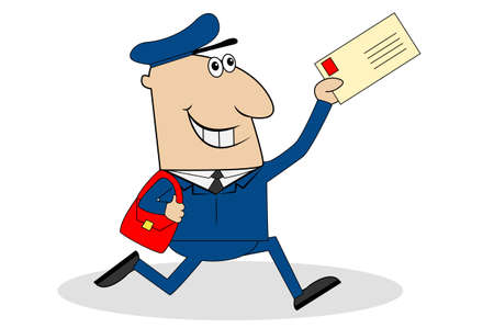 man the postman runs with the letter in hand,vector illustration Illustration