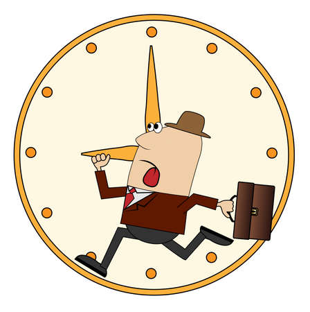 diligence: business man is late for work ,vector illustration