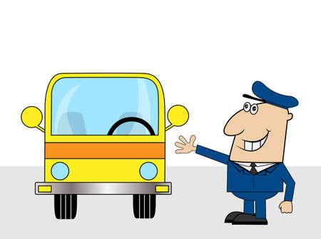 diligence: fun bus driver ,vector illustration