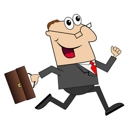 diligence: cheerful businessman with briefcase running to work,vector illustration Illustration