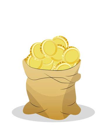 lucky bag: a bag of money,vector illustration