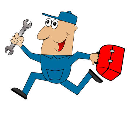 diligence: male mechanic runs with a wrench,vector illustration Illustration
