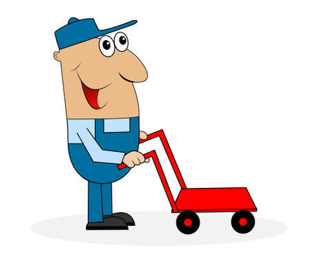 loader: man loader with cart,vector illustration