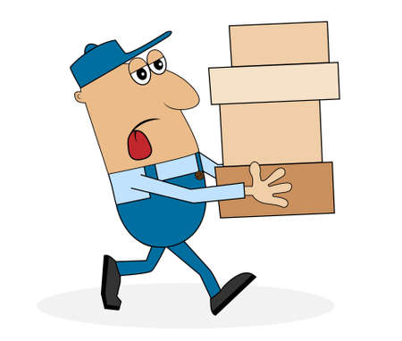 a lot: a man carrying a lot of boxes,vector illustration