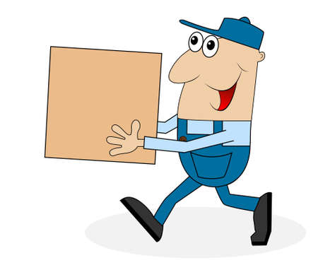 diligence: a man carrying a big box,vector illustration