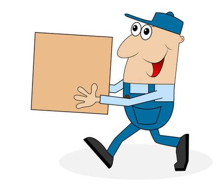 carrying box: un hombre que lleva una caja grande, ilustraci�n vectorial Vectores