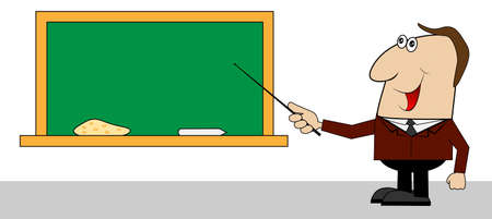 diligence: male teacher about the school Board ,vector illustration
