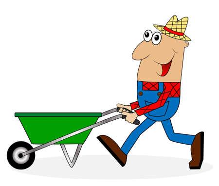 diligence: male farmer pushing a cart, vector illustration Illustration