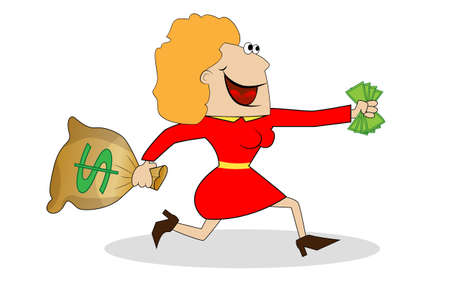 Cheerful woman flees with the money in hands,vector illustration
