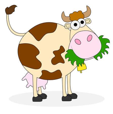 cow bells: vaca manchada en el fondo blanco, ilustraci�n vectorial