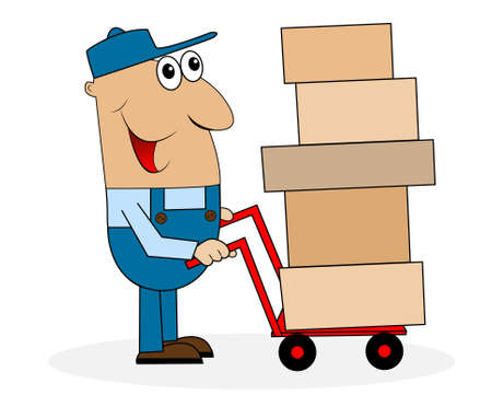 diligence: man loader with boxes on the trolley,vector illustration Illustration