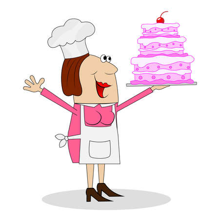 pastry chef: female pastry chef with cake in hand,vector illustration