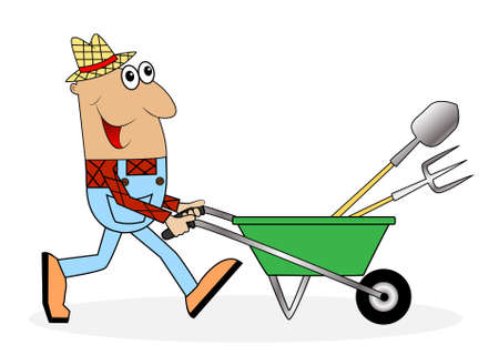 diligence: male farmer pushing a cart with tools ,vector illustration