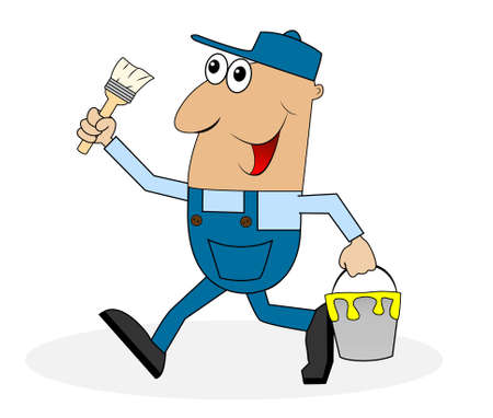 coveralls: male house painter with paint and brush in hand , vector illustration