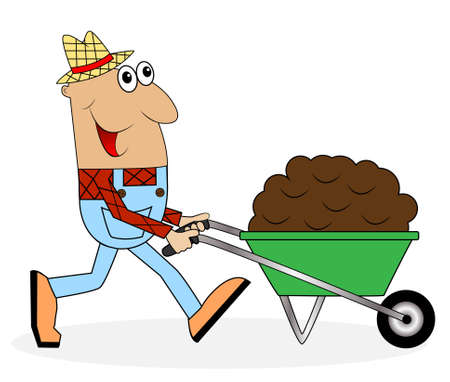 male farmer pushing a cart with black earth,vector illustration