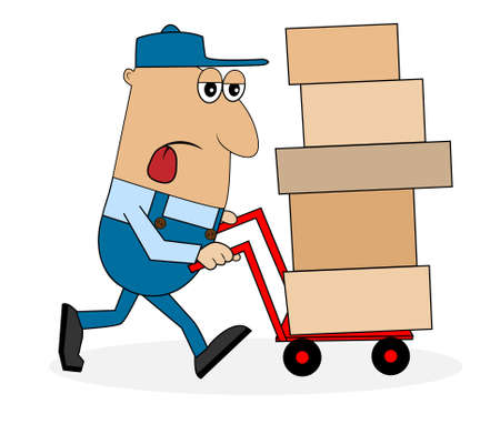 tired man porter carries a box on the trolley,vector illustration